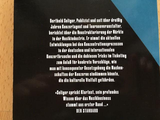 """Berthold Seliger - """"Vom Imperiengeschäft - Konzerte, Festivals, Soziales.Wie Grosskonzerne die kulturelle Vielfalt zerstören"""" 1"""